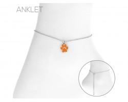 Orange Paw Silver Anklet