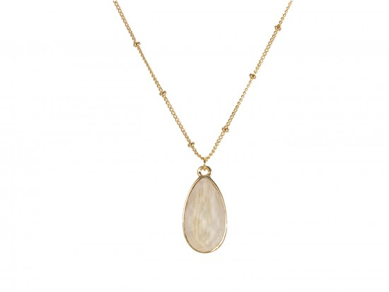 Beige Colored Stone Gold Brushed Teardrop Chain Necklace