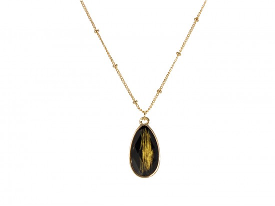 Black Colored Stone Gold Brushed Teardrop Chain Necklace
