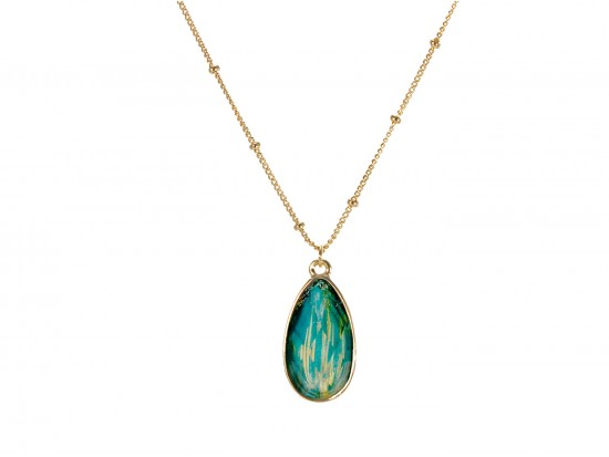 Emerald Colored Stone Gold Brushed Teardrop Chain Necklace