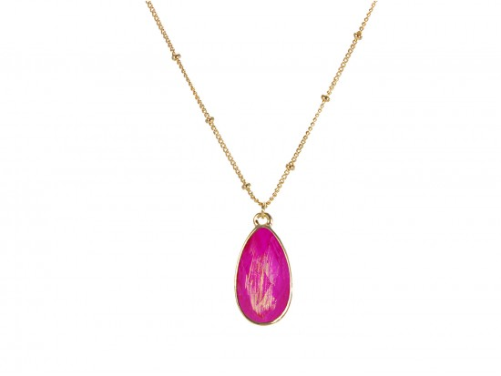 Fuchsia Colored Stone Gold Brushed Teardrop Chain Necklace