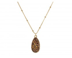 Brown Leopard Gold Brushed Teardrop Chain Necklace