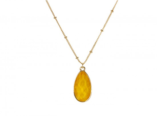 Yellow Colored Stone Gold Brushed Teardrop Chain Necklace