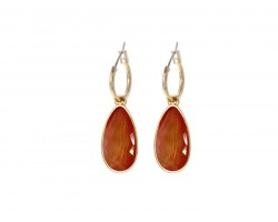Coral Gold Brushed Teardrop Hoop Earrings