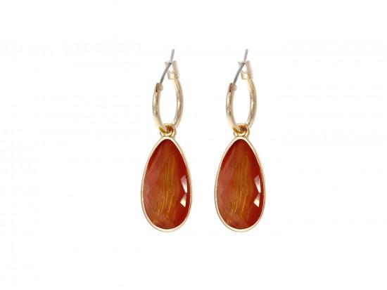 Coral Gold Brushed Teardrop Hoop Earrings