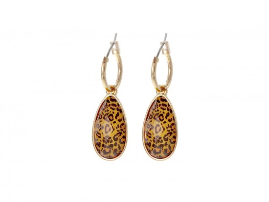 Brown Leopard Brushed Teardrop Hoop Earrings