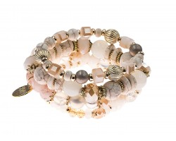 Beige Stone Bead Tassel Stretch Bracelet 4 Set