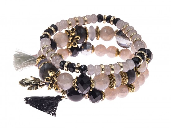 Black Stone Bead Tassel Stretch Bracelet 4 Set