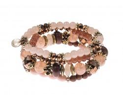 Brown Stone Bead Tassel Stretch Bracelet 4 Set