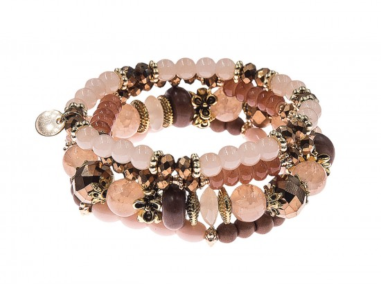 Brown Stone Bead Tassel Stretch Bracelet 4 Set