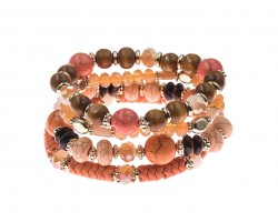 Coral Stone Bead Tassel Stretch Bracelet 4 Set