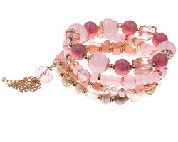 Light Rose Stone Bead Tassel Stretch Bracelet 4 Set