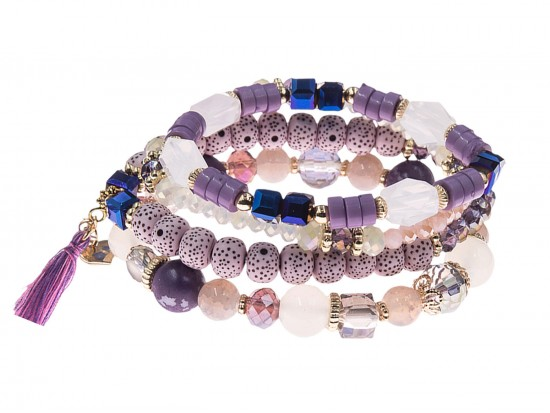 Purple Stone Bead Tassel Stretch Bracelet 4 Set