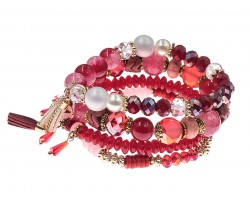 Red Stone Bead Tassel Stretch Bracelet 4 Set