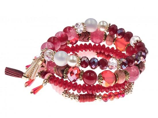 Red Stone Bead Tassel Stretch Bracelet 4 Set