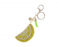 Yellow Lemon Crystal Fruit Puffy Key Chain