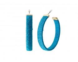 Blue Thread Wrapped Hoop Post Earrings