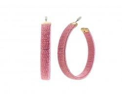 Pink Thread Wrapped Hoop Post Earrings