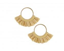 Beige Raffia Tassel Hoop Post Earrings