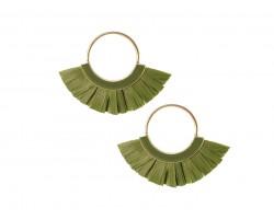 Green Raffia Tassel Hoop Post Earrings
