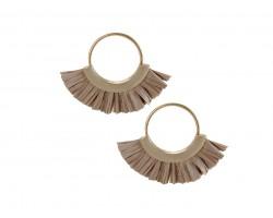 Gray Raffia Tassel Hoop Post Earrings