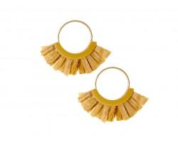Light Brown Raffia Tassel Hoop Post Earrings