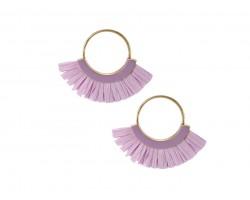 Violet Raffia Tassel Hoop Post Earrings