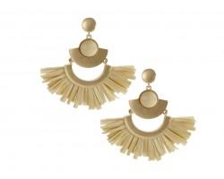 Beige Raffia Tassel Crescent Post Earrings