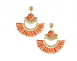 Coral Raffia Tassel Crescent Post Earrings