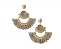 Gray Raffia Tassel Crescent Post Earrings
