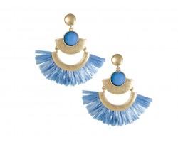 Light Blue Raffia Tassel Crescent Post Earrings