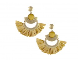 Light Brown Raffia Tassel Crescent Post Earrings