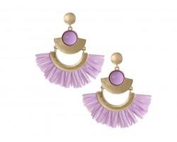 Violet Raffia Tassel Crescent Post Earrings