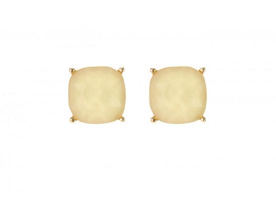 Beige Acrylic Cushion Shape Gold Post Earrings