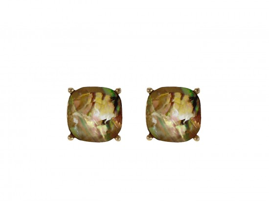 Beige Multi Acrylic Cushion Shape Gold Post Earrings