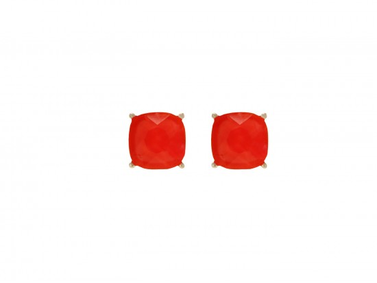 Red Acrylic Cushion Shape Gold Post Earrings