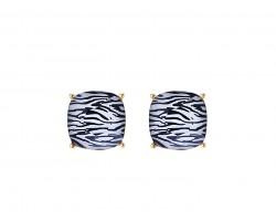 Zebra Acrylic Cushion Shape Gold Post Earrings