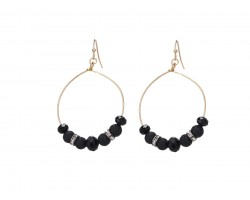 Black Lava Stone Crystal Hook Gold Hoop Earring