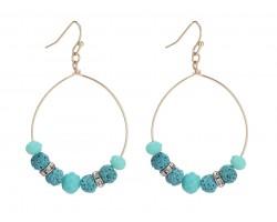 Blue Zircon Lava Stone Crystal Hook Gold Hoop Earring
