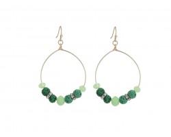 Green Lava Stone Crystal Hook Gold Hoop Earring