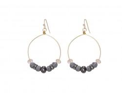 Gray Lava Stone Crystal Hook Gold Hoop Earring