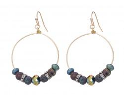 Multi Lava Stone Crystal Hook Gold Hoop Earring