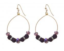 Purple Lava Stone Crystal Hook Gold Hoop Earring