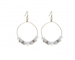 White Lava Stone Crystal Hook Gold Hoop Earring