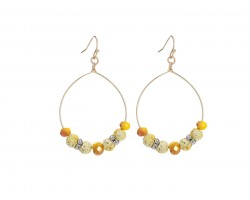 Yellow Lava Stone Crystal Hook Gold Hoop Earring