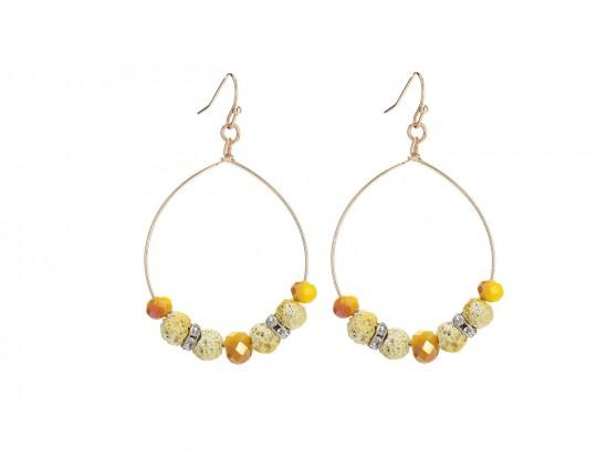 Yellow Lava Stone Crystal Hook Gold Hoop Earring