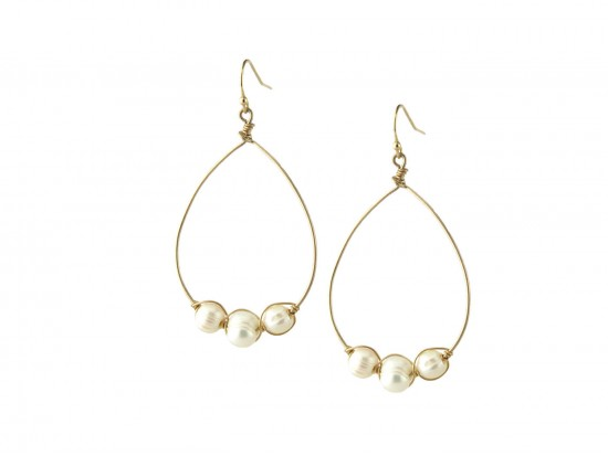 Pearl Teardrop Loop Gold Hook Earring