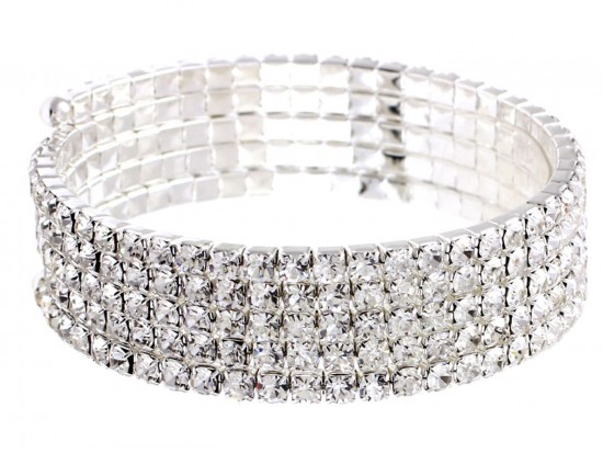 Silver Crystal Memory Wire Wrap Bracelet