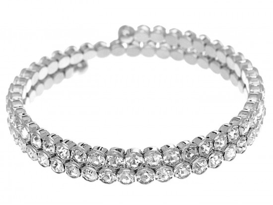 Silver Clear Crystal Memory Wire Wrap Bracelet