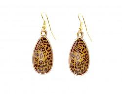 Brown Leopard Acrylic Teardrop  Gold Hook Earrings